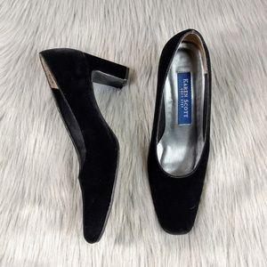 Vintage Black Velvet Square Toe Block Heels